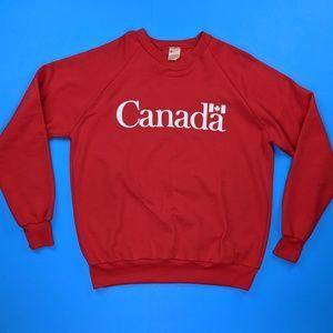 Vintage Canada Sweatshirt Red Large 50/50